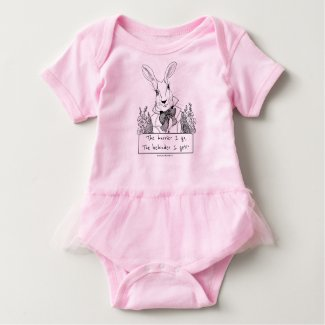 GINNY PEARL FOR BABY White Rabbit in a Hurry Baby Bodysuit