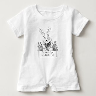 GINNY PEARL FOR BABY White Rabbit in a Hurry Baby Romper