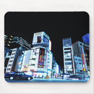 Ginza district in Tokyo, Japan at night Mouse Pad