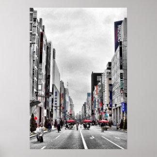 Ginza-dori Pedestrian Paradise, Tokyo, Japan Poster