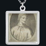 """Giordano Bruno Silver Plated Necklace<br><div class=""""desc"""">French School&#39;s Giordano Bruno (1548-1600) located at the Bibliotheque Nationale,  Paris,  France. The Giordano Bruno (1548-1600) was created around the 16th century.</div>"""