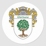 Giordano Coat of Arms (Mantled) Round Stickers