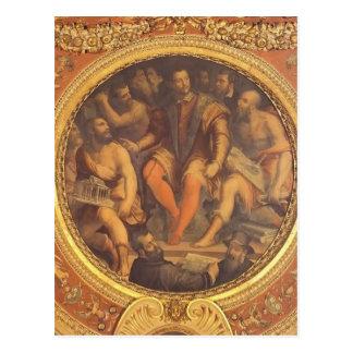 Giorgio Vasari: Cosimo I de Medici y sus arquitect Tarjeta Postal