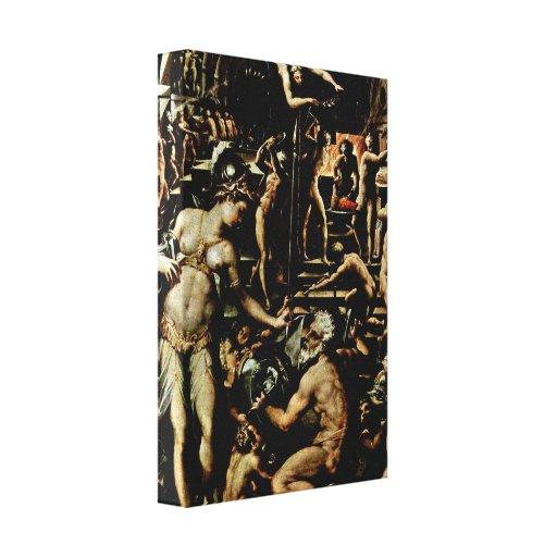 Giorgio Vasari - The Forge of Hephaestus Stretched Canvas Print