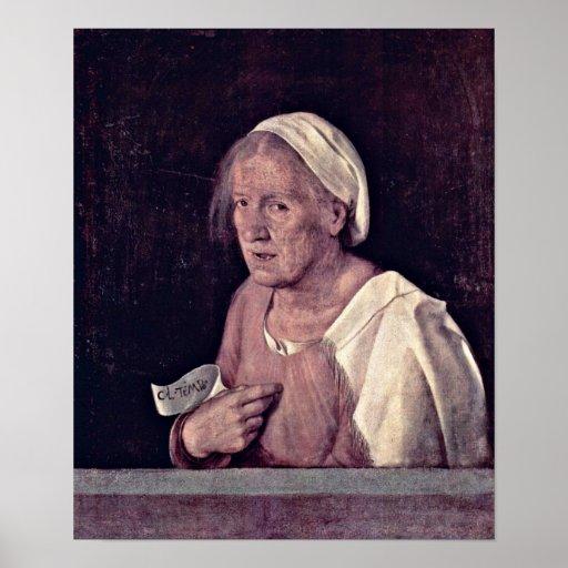 Giorgione - retrato de una mujer mayor póster