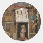Giotto: Milagro del crucifijo Pegatina Redonda