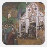 Giotto: St Francis estuvo de luto por St. Clare Pegatina Cuadrada