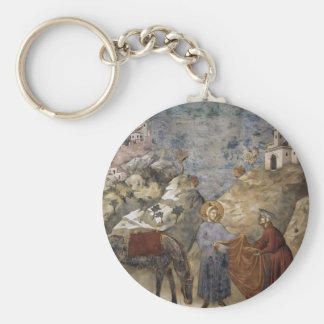 Giotto:St. Francis Giving his Mantle to a Poor Man Keychains
