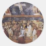 Giotto: St Jerome que comprueba los estigmas Etiquetas Redondas