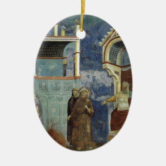 Giotto: The Trial by Fire Double-Sided Oval Ceramic Christmas Ornament