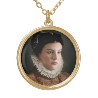 Giovanni Battista Moroni revisited Gold Plated Necklace