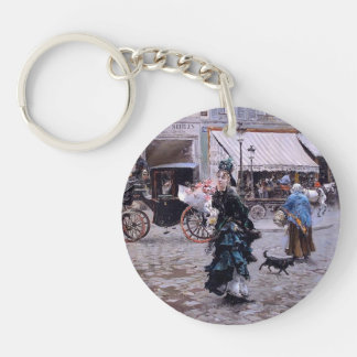 Giovanni Boldini- Crossing the Street Single-Sided Round Acrylic Keychain