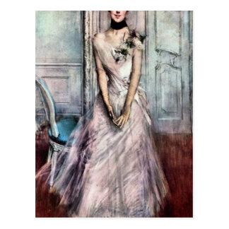 Giovanni Boldini - White pastel picture Postcard