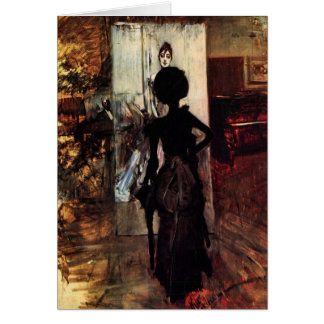 Giovanni Boldini - Woman in front of the painting Greeting Card