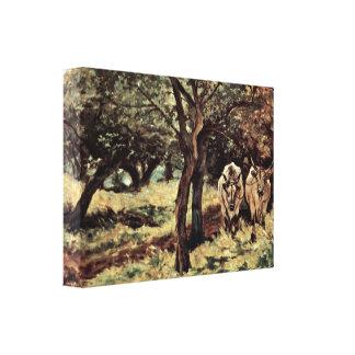 Giovanni Fattori - two oxen in the olive grove Stretched Canvas Print