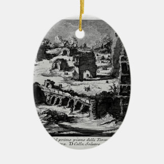 Giovanni Piranesi- Baths of Titus Double-Sided Oval Ceramic Christmas Ornament