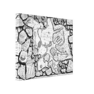 Giovanni Piranesi-Map of ancient Rome&Forma Urbis Canvas Print