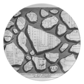 Giovanni Piranesi- Map of ancient Rome&Forma Urbis Dinner Plate