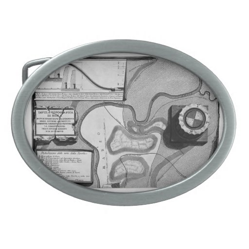 Giovanni Piranesi-Plate of topography of Rome Oval Belt Buckle