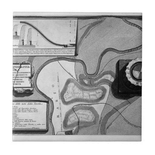 Giovanni Piranesi-Plate of topography of Rome Small Square Tile