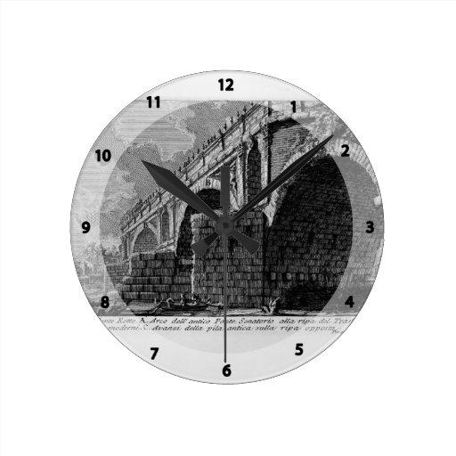 Giovanni Piranesi-Ponte Rotto Round Wall Clock