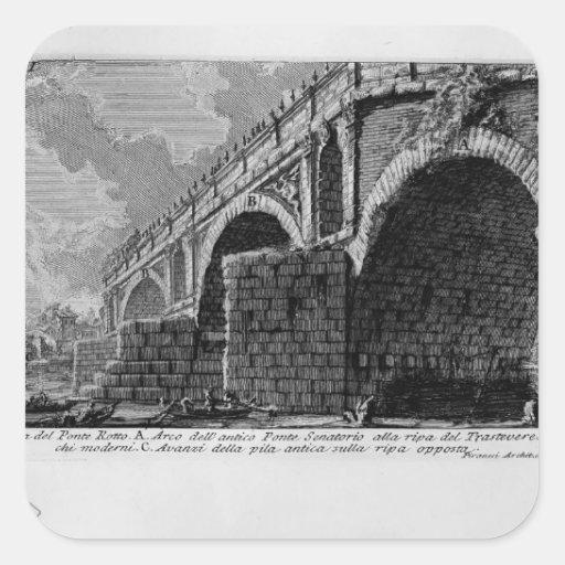Giovanni Piranesi-Ponte Rotto Square Stickers