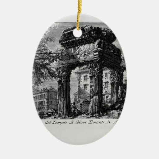 Giovanni Piranesi- Ruins of the pronaos of temple Double-Sided Oval Ceramic Christmas Ornament