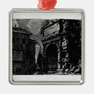Giovanni Piranesi-Veduta with Arch of Titus Square Metal Christmas Ornament
