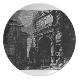Giovanni Piranesi-Veduta with Arch of Titus Party Plate