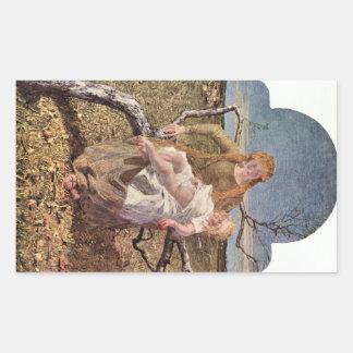 Giovanni Segantini - fruta del amor Pegatina Rectangular