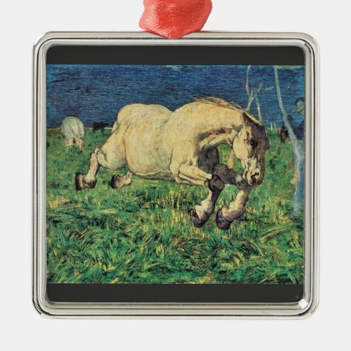 Giovanni Segantini - Galloping horse Christmas Tree Ornaments
