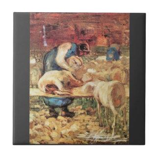Giovanni Segantini - Shearing Small Square Tile