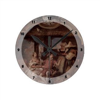 Giovanni Tiepolo:Angelica & Medorus with peasants Wall Clock