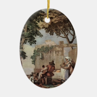 Giovanni Tiepolo:Peasant Family at Table Christmas Ornaments