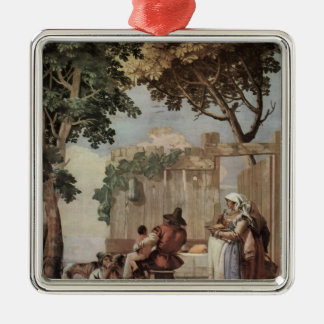 Giovanni Tiepolo:Peasant Family at Table Christmas Tree Ornament