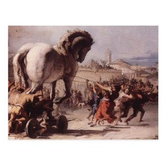 Giovanni Tiepolo- Procession of the Trojan Horse Postcard