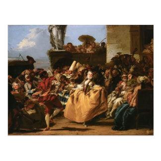 Giovanni Tiepolo- The Minuet or Carnival Scene Postcard