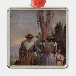 Giovanni Tiepolo: Two Peasant Women and a Child Christmas Ornaments