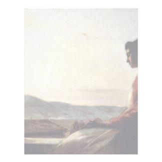 Giovannina que se sienta en el Windowsill Plantillas De Membrete