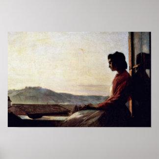Giovannina que se sienta en el Windowsill Poster
