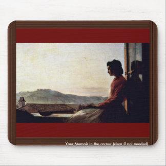 Giovannina que se sienta en el Windowsill Tapetes De Raton