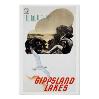 Gippsland Lakes  ~ Vintage Australia Travel Poster