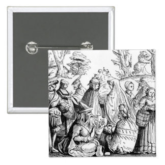 Gipsies fortune telling, after a woodcut in 'Cosmo Pinback Button