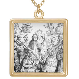 Gipsies fortune telling, after a woodcut in 'Cosmo Square Pendant Necklace