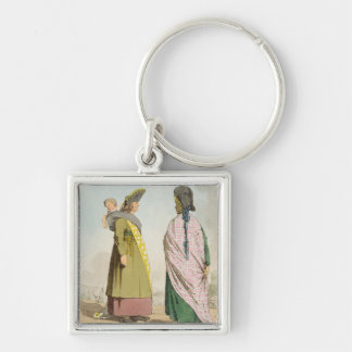 Gipsies, plate 25 from Volume I of 'The Manners, C Silver-Colored Square Keychain