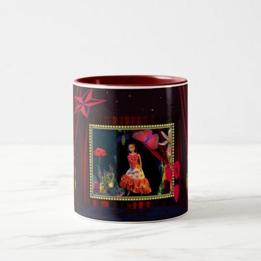 Gipsygirl en el país de las maravillas taza de café de dos colores