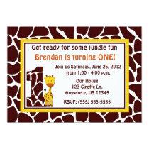 Giraffe 1st Birthday Invitation
