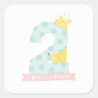 Giraffe 2nd Birthday Party Decor Sticker