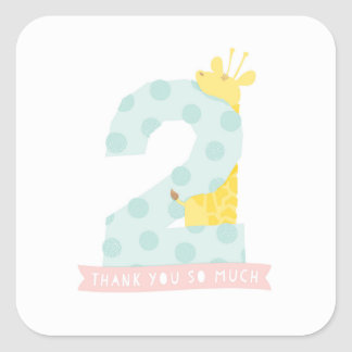 Giraffe 2nd Birthday Party Decor Thank You Sticker