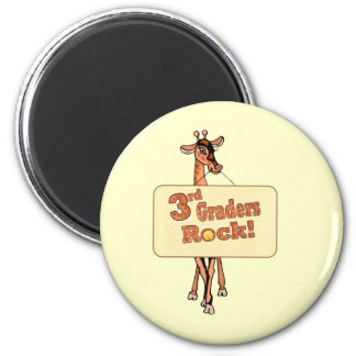 "Giraffe ""3rd Graders Rock"" Design 2 Inch Round Magnet"